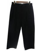 NOT CONVENTIONAL(ノットコンベンショナル)の古着「センタープリーツエステルレーヨンワイドパンツ」|ブラック