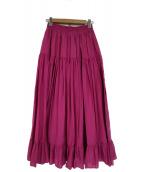 RAY BEAMS(レイビームス)の古着「ティアードロングスカート」|ピンク