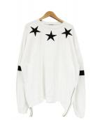 Danke schon(ダンケシェーン)の古着「ジップデザインスター刺繍スウェット」|ホワイト×ブラック