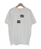 Supreme×COMME des GARCONS SHIRT(シュプリーム × コムデギャルソンシャツ)の古着「コラボスプリットボックスロゴプリントTシャツ」 ホワイト