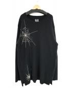 YohjiYamamoto pour homme(ヨウジヤマモトプールオム)の古着「蜘蛛の巣刺繍ビッグニット」|ブラック