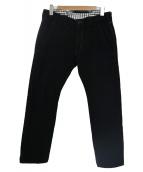 CDG JUNYA WATANABE MAN(コムデギャルソンジュンヤワタナベマン)の古着「カウレザーシンチバック付ウールテーパードパンツ」|ブラック