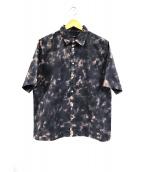 DIESEL(ディーゼル)の古着「バック刺繍総柄半袖シャツ」|ブラック