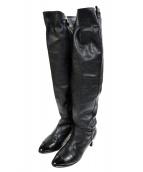 CHANEL(シャネル)の古着「エナメルトゥレザーロングブーツ」|ブラック
