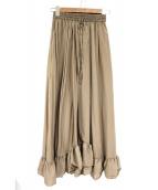 CLANE(クラネ)の古着「サテンフリルスカート」|ベージュ