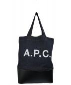 A.P.C.(アーベーセ)の古着「カウレザー切替Cabas Axeデニムトートバッグ」|インディゴ×ブラック