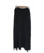 HELMUT LANG(ヘルムートラング)の古着「テープデザインレーヨンロングスカート」|ブラック