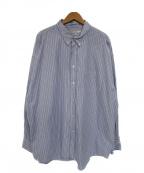 JOURNAL STANDARD TRISECT(ジャーナルスタンダードトライセクト)の古着「ビッグBDストライプシャツ」|ブルー×ホワイト