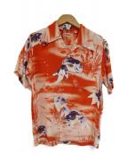 Sun Surf(サンサーフ)の古着「金魚柄アロハシャツ」|オレンジ
