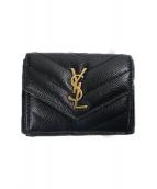 Saint Laurent Paris(サンローランパリ)の古着「コンパクト3つ折りエンベロープ財布」|ブラック