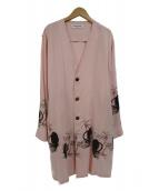 RUDE GALLERY(ルードギャラリ)の古着「ブラックパンサーレーヨンローブコート(カーディガン)」|ピンク
