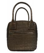 coquette(コケット)の古着「キュービック型押しレザートートバッグ」|ブラウン