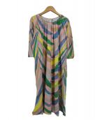 mina perhonen(ミナペルホネン)の古着「カーニバルツリードレスブラウスワンピース」|ピンク×マルチカラー