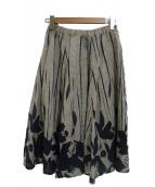 PALLAS PALACE(パラスパレス)の古着「花柄リネンロングスカート」|ベージュ×インディゴ