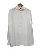 LARDINI(ラルディーニ)の古着「フラワー刺繍リネンドレスシャツ」|ホワイト