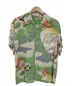 Sun Surf(サンサーフ)の古着「太平記家紋アロハシャツ」 黄緑