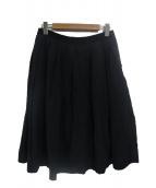 MARGARET HOWELL(マーガレットハウエル)の古着「プレーンウィーブリネンコットンスカート」|ブラック