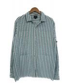 Noah(ノア)の古着「シアサッカーオープンカラーシャツ」|ホワイト×ブルー