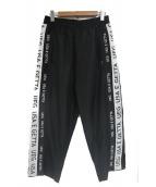 UEG(ウーサーエジェッタ)の古着「サイドラインワイドパンツ」|ブラック×ホワイト
