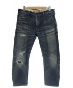 Denham(デンハム)の古着「セルビッチクラッシュ加工デニムパンツ」 インディゴ