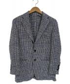 BEAMS F(ビームスエフ)の古着「サマーツイードシルク3Bテーラードジャケット(ジレセット)」|ホワイト×ブルー