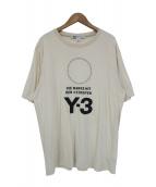 Y-3(ワイスリー)の古着「プリントロゴTシャツ」 ベージュ