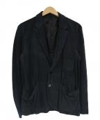 PAUL SMITH()の古着「パンチングゴートレザースウェードテーラードジャケ」|ブラック