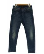 DIESEL BLACK GOLD(ディーゼルブラックゴールド)の古着「USED加工デニムパンツ」 インディゴ
