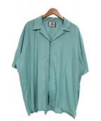 SON OF THE CHEESE(サノバチーズ)の古着「レーヨンオープンカラーフックシャツ」|スカイブルー