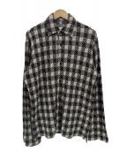 YohjiYamamoto pour homme(ヨウジヤマモトプールオム)の古着「ウールチェックシャツ」 ホワイト×ブラウン