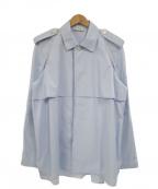 CELINE()の古着「エポレット付オーバーサイズシャツジャケット」 ブルー