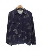 Star OF HOLLYWOOD(スターオブハリウッド)の古着「総柄レーヨンL/Sオープンカラーシャツ」|ネイビー