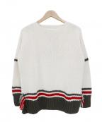 Maison Margiela 14(メゾンマルジェラ14)の古着「レプリカフリンジニットセーター」 ホワイト×グリーン