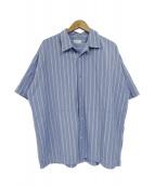 EN ROUTE(アンルート)の古着「コットンストライプS/Sオープンカラーシャツ」|ブルー×ホワイト