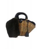 ebagos(エバゴス)の古着「ブライドルレザー×紅籐カゴバッグ」|ベージュ×ブラック