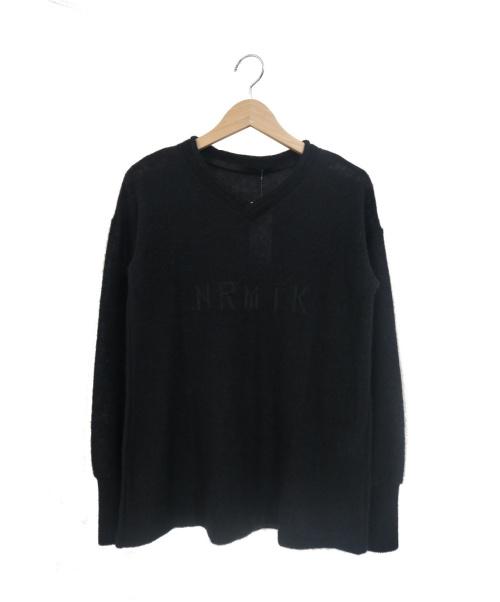 JULIUS(ユリウス)JULIUS (ユリウス) NRMTK刺繍L/Sニット ブラック サイズ:1の古着・服飾アイテム