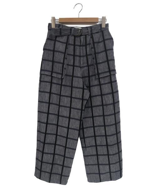 Y.M.WALTS(ワイエムウォルツ)Y.M.WALTS (ワイエムウォルツ) リネン混マチポケットチェックワイドパンツ ネイビー サイズ:1の古着・服飾アイテム