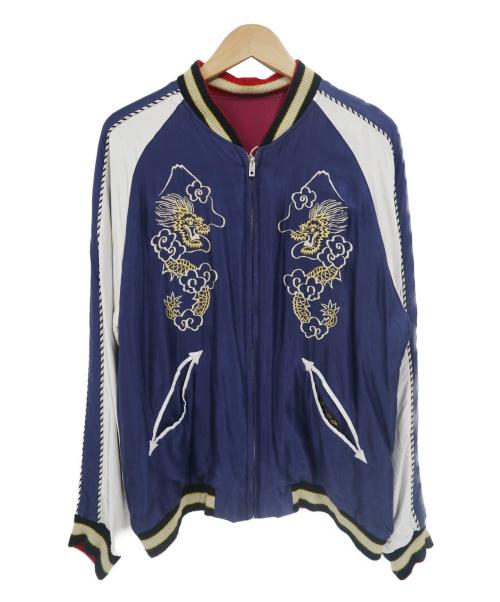 東洋エンタープライズ(トウヨウエンタープライズ)東洋エンタープライズ (トウヨウエンタープライズ) イーグル×ジャパンマップリバーシブルスカジャン ネイビー×レッド サイズ:Lの古着・服飾アイテム