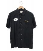 Hysteric Glamour(ヒステリックグラマー)の古着「S/Sガールワッペンレクセルオープンカラーシャツ」|ブラック