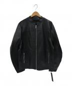 Karl Lagerfeld(カール ラガーフェルド)の古着「シープレザーレーシングジャケット」|ブラック
