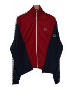 FRED PERRY×77circa(フレッドペリー × ナナナナサーカ)の古着「コラボ袖ロゴプリントトラックジャケット」|レッド×ネイビー