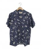 RUDE GALLERY BLACK REBEL(ルードギャラリー ブラックレーベル)の古着「スワローデザインオープンカラーシャツ」 ネイビー×ホワイト
