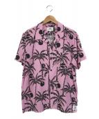()の古着「アロハシャツ」|ピンク×ブラック