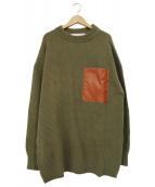 THE SHINZONE(ザ シンゾーン)の古着「PVC切替クルーネックニット」|ブラウン