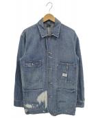 POLO RALPH LAUREN(ポロラルフローレン)の古着「ブリーチ加工デニムカバーオール」|インディゴ