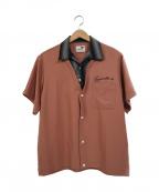 GANGSTERVILLE(ギャングスタービル)の古着「レイヤードオープンカラーS/Sシャツ」|ピンク×ブラック