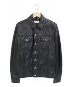 Saint Laurent Paris(サンローランパリ)の古着「デニムスタイルボタンレザージャケット」|ブラック