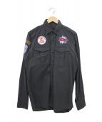 Hysteric Glamour(ヒステリックグラマー)の古着「ワッペン付ミリタリーシャツ」|ブラック