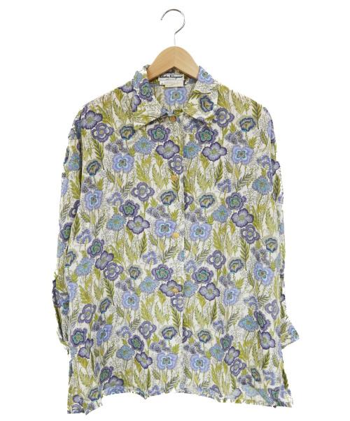 Salvatore Ferragamo(サルヴァトーレフェラガモ)Salvatore Ferragamo (サルヴァトーレフェラガモ) フラワーデザインシルクL/Sブラウス ホワイト×ブルー サイズ:XS シルク100%の古着・服飾アイテム