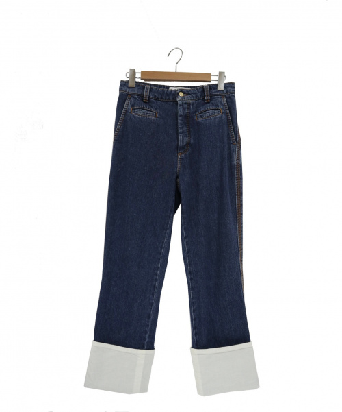 LOEWE(ロエベ)LOEWE (ロエベ) 裾切替フィッシャーマンデニムパンツ インディゴ サイズ:34の古着・服飾アイテム
